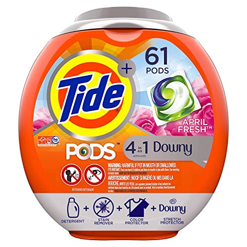 Tide PODS Plus Downy 4 in 1 HE Turbo Laundry Detergent Pacs, April Fresh Scent, 61 Count Tub - Packaging May Vary