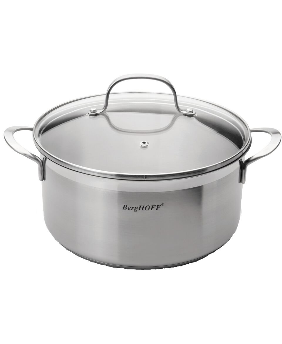 Berghoff Bistro 18/10 Stainless Steel 9.5'' Heavy-duty Covered Stockpot, 4.8Quartz Multi-Purpose Cookware with Encapsulated Base, Dishwasher Safe