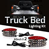 Truck Bed Light Strips, Megulla LED Truck Bed Lighting Kit with On/Off Switch and Fuse -180 Super Bright LED, 2400lumens, 2x60inch, IP67 Waterproof -for Trucks, Trailers, Pickups, RVs, Vans and Cargos -Cool White, 6000K