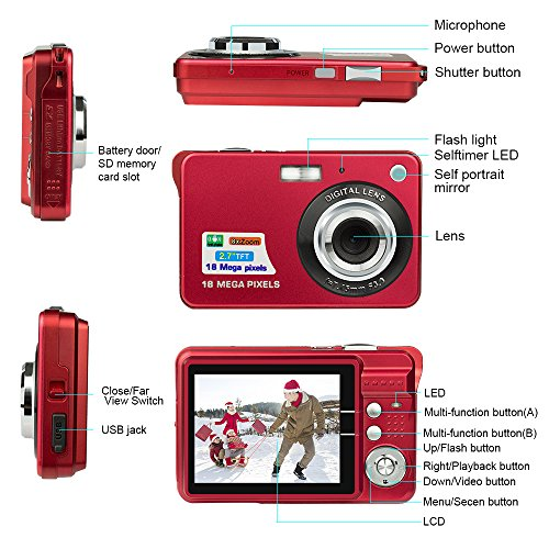 HD-Mini-Digital-Camera-with-27-Inch-TFT-LCD-Display-Digital-Video-Camera-Red-SportsTravelCampingBirthdayChristmas-Gift