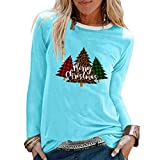 Womens Christmas Funny Printed Blouses Long Sleeve Loose Tops T-Shirts Blue