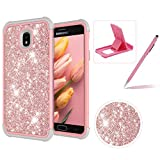 Pink Shockproof Case for Samsung Galaxy J7 2018,Herzzer Stylish 3 in 1 Glitter Heavy Duty Drop Proof Tough Rugged Impact Defender Full Body Case
