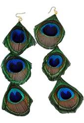 Womens Teens Girls Bohemian Peacock Feather Earrings