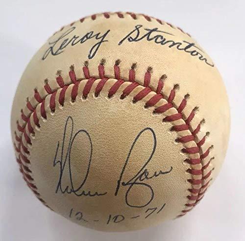 "NOLAN RYAN & LEROY STANTON DUAL AUTOGRAPH SIGNED BASEBALL COA JSA 1971 NEW YORK METS TRADE""12 10 71"" HOF"