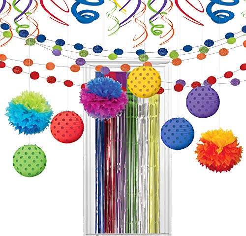 Party City Super Rainbow Decorating Kit, Includes Doorway Curtain, Pom Poms, Paper Lanterns and More -
