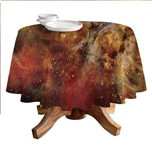 Space Decorations Round Polyester Tablecloth,Nebula in Deep Outer Space with Star Clusters Astro Galaxy Universe,Dining Room Kitchen Round Table Cover,55