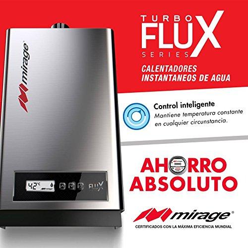 Calentador de agua instantáneo INVERTER para 3 servicios 16 litros por minuto a gas Lp TurboFlux16L, color acero