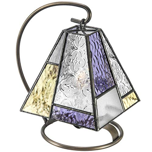 J Devlin Lam 710-2 Tiffany Stained Glass Mini Lamp Purple and Green Accent Night Light Memory Light