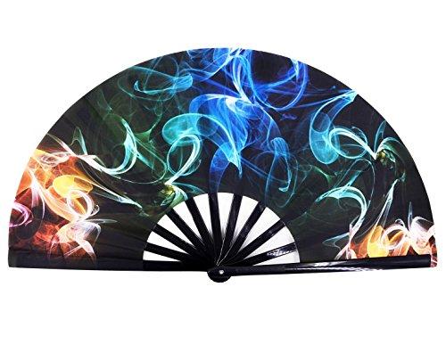 Amajiji Large Galaxy Folding Fan, Chinease/Japanese Folding Nylon-Cloth Hand Fan, Hand Folding Fans for Women/Men, Hand Fan Festival Gift Fan Craft Fan Folding Fan Dance Fan (AM4)