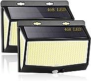 3 Modos Luz Solar Exterior, [2021 Más Brillante Modelo 468 LED Luces Solares 2-Paquete] Gran Ángulo 270 °Ilumi