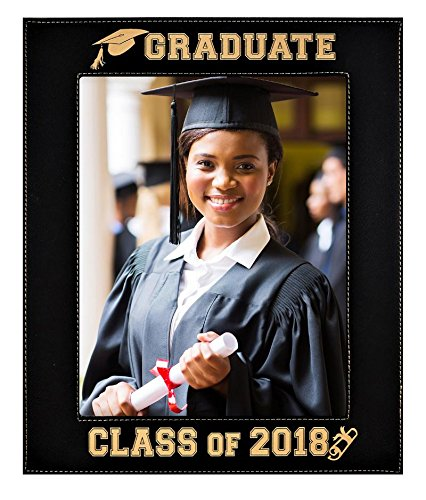 Engraved Leatherette Graduation Picture Frame ~ Class of 2018 Elegant Black Frame with Gold Engraving ~ Beautiful Display for Special Graduate (Class of 2018 - 8