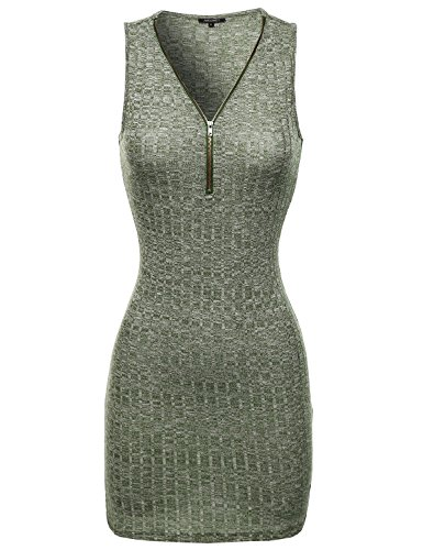 Sleeveless Ribbed Dress With Center Zipper Olive Size S