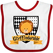 Inktastic - Gryffindorable Crest with Lion Head Baby Bib White/Red