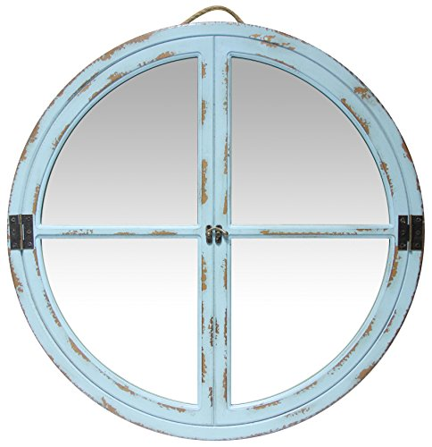 Infinity Instruments - Espejo de Ventana de Imitación Rústico, Color Turquesa