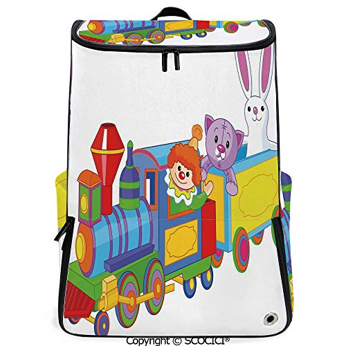 - SCOCICI Laptop Backpack,Clown Cat and Bunny Sitting in The Train Kids Toys Cartoon Style Funny Cheerful,Multicolor,Customizable Multicolor for Men & Women Sport Daypack