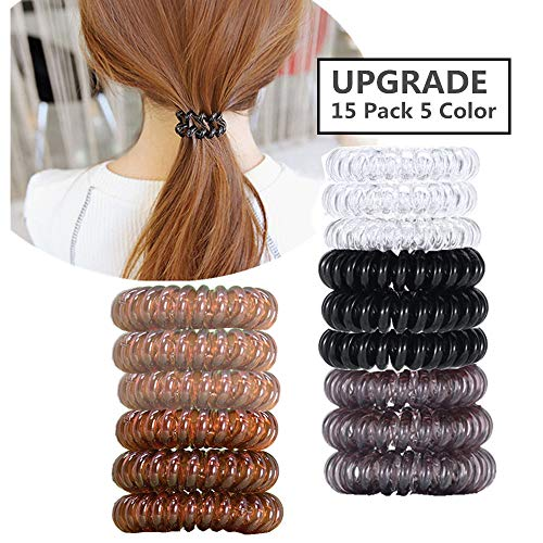 No Crease Hair Ties for Women and Girls,10 Piece Plastic Spiral Hair Coil Rings for all Hair Type (10Pack 5Color)   (Different Types Of Ponytails For Long Hair)