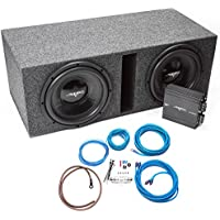 Skar Audio Dual 12 Complete Subwoofer Bass Package - Includes Subwoofers in Ported Box with Amplifier