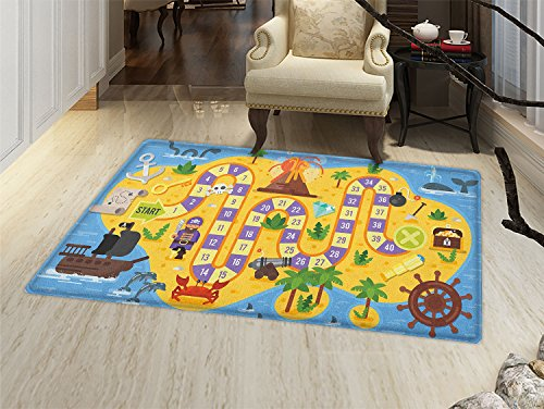 smallbeefly Kids Activity Floor Mat for kids Finding Treasure of the Pirate Themed Board Game Style Colorful Island Map Door Mat Increase Multicolor by smallbeefly