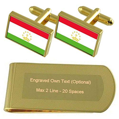 Gift Tajikistan tone Cufflinks Flag Engraved Money Set Clip Gold xvvq6rRw0