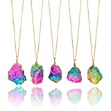 Bracet Rainbow Irregular Quartz Stone Rock Pendant Crystal Gemstone Necklace Gold Plated Wire Wrap Birthstone Jewelry Gifts for Women Girls