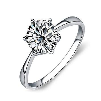 TONVER CZ Anillo de Compromiso, Chapado en Plata, Princesa Eternidad Anillo de Diamantes Falsos Anillo de Compromiso de Boda Anillos para Mujer, 6, ...