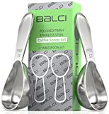BALCI- Stainless Steel Coffee Scoop Set (2&2 Tablespoon, 30ml and 30ml) EXACT Measuring Spoons for Coffee, Tea, Sugar, Flour and More!