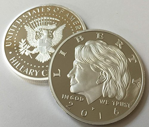 Hillary Clinton Presidential Eagle Silver Plated Commemorative Tribute Coin 38mm by Aizics