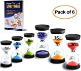 Sand Timers for Kids, Preschool Learning Toys, Colorful Timers 1/3/5/10/15/30 Minutes Classroom Timer, Hourglass Toothbrush Timer, Sensory Toys, Hour Glass for Teachers (Pack of 6)
