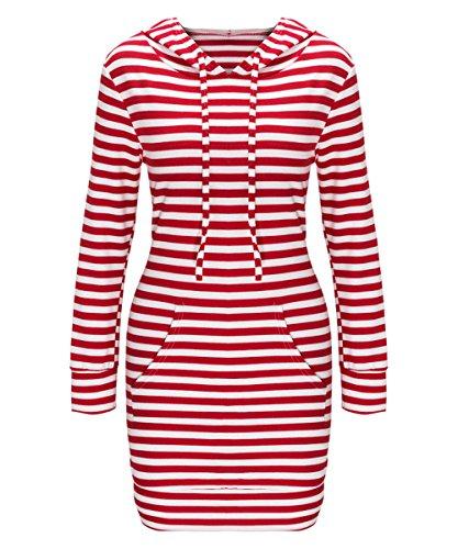 Barbella Women's Casual Long Sleeve Bodycon Hoodie Dress with Kangaroo Pockets, Red White, XX-Large (Hood Dress)