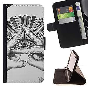 - eye pyramid free mason sketch pencil - - Prima caja de la PU billetera de cuero con ranuras para tarjetas, efectivo desmontable correa para l Funny HouseFOR Samsung Galaxy S3 III I9300