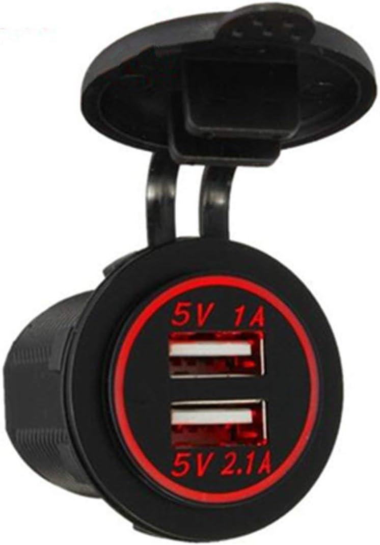 LouiseEvel215 Cubierta del Cargador USB Dual del Coche para la Motocicleta Auto Truck ATV Boat 12V-24V LED Adaptador de Corriente del Cargador Dual USB Socket Mount