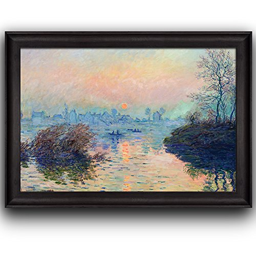 Sun Setting over the Seine at Lavacourt Winter Effect by Claude Monet Framed Art