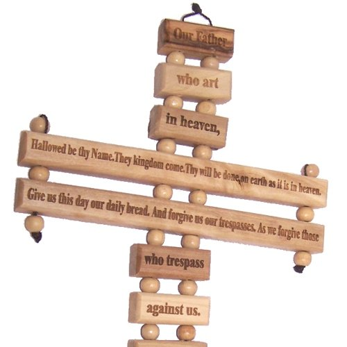 Holy Land Market Lord Prayer Olive wood Cross from Bethlehem with a Certificate and Lord prayer card (20 Inches) by Holy Land Market (Image #2)