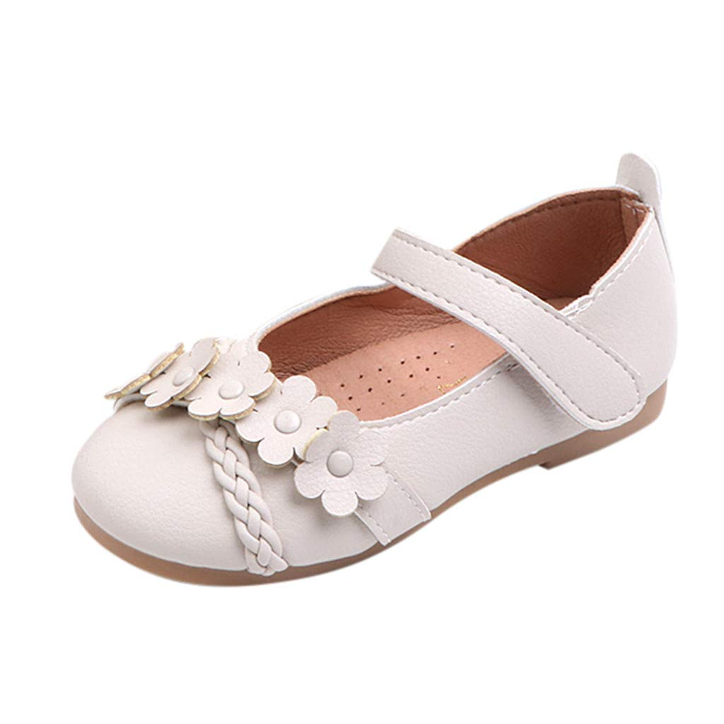 Little Girls Princess Sandals,Jchen Toddler Infant Kids Baby Girls Flower Woven Single Shoes Princess Elegant Sandals for 1-6 Y (6.5 M US Toddler, Beige)