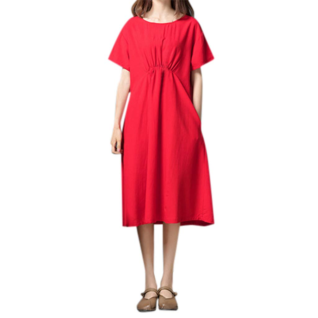 Women's O-Neck Short Sleeve Dress Loose Solid Cotton Linen Loose Dress Plain Maxi Classic Party Dresses Size M-2XL (L, Red) by Sengei