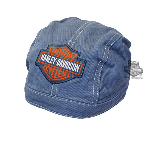 Harley-Davidson Little Boys' Do-Rag, Bar & Shield Denim Head Wrap, Blue 1370322 (Toddler Boy Harley Davidson)