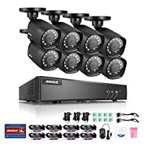 ANNKE 8 CH 720P H.264+ HD-TVI 5 in 1 DVR Security System w/ 8x 720P Weatherproof Indoor/Outdoor CCTV Camera Systems Support AHD/TVI/CVI/Analog,IPC 960P Mode, No HDD