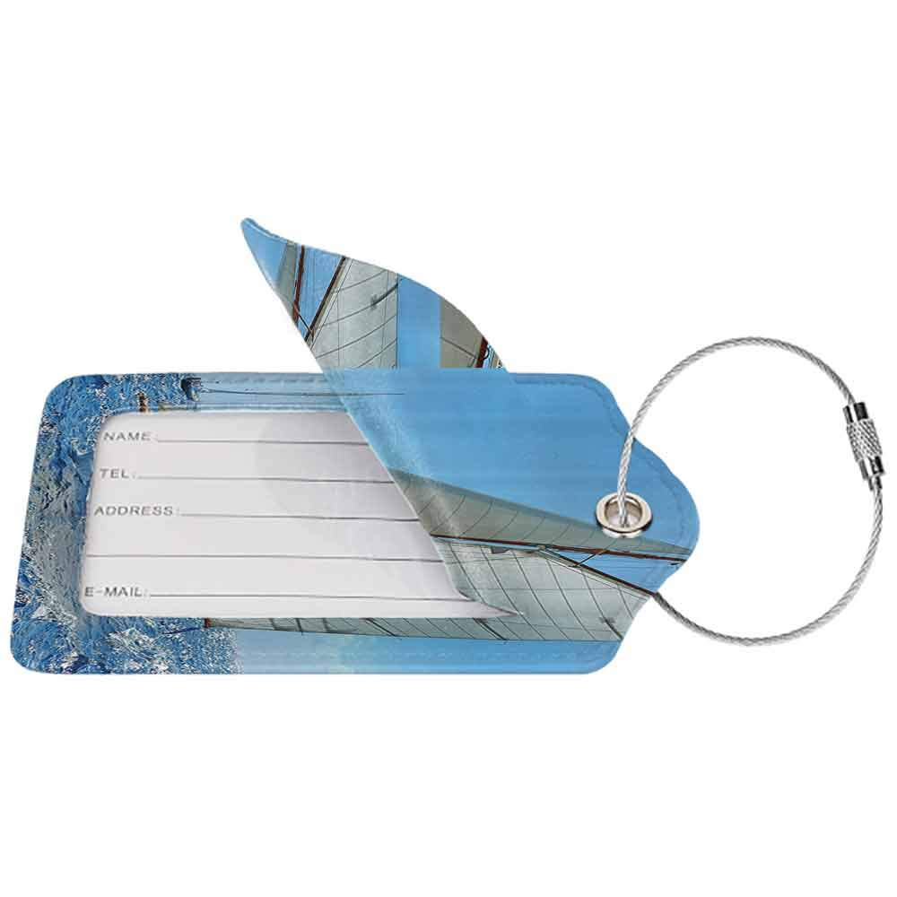Small luggage tag Nautical Sailboat on the Sea Regatta Race Yacht and Windy Weather Competition Theme Quickly find the suitcase Blue White Brown W2.7 x L4.6