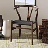 2xhome Black Wishbone Wood Armchair with Arms