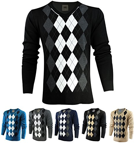 Enimay Mens Argyle V-Neck Golf Long Sleeve Sweater (Many Colors Available)