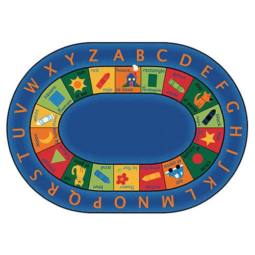 (Carpets for Kids 9506 Printed Bilingual Circletime Kids Rug Rug Size: Oval 6'9