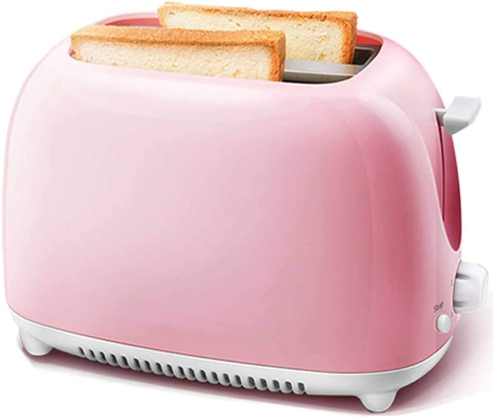 Mini Toaster, Stainless Steel Automatic 2 Slice Extra Wide Slot 5 Shade Settings Crumb Tray Toaster Oven for Kitchen Living Room School-Pink