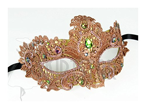 (Largemouth Women's Masquerade Mask Brocade Crystal (Pink/Rainbow))