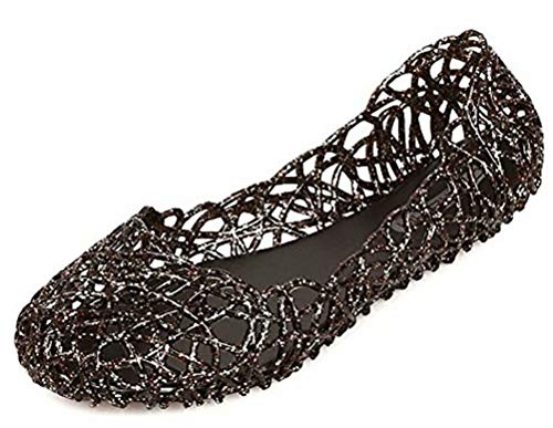 Ladies Jelly Shoes - Sketo Women's Bird Nest Layered Lines Jelly Ballet Flats US Size 7 Black