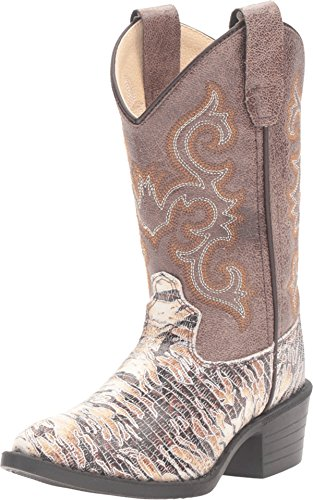 Old West Kids Boots Unisex J Toe Lizard Print (Toddler/Little Kid) Chocolate Boot 8.5 Toddler M