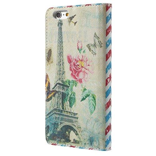 Apple iPhone 6S 6étui housse en cuir PU Rétro la Tour Eiffel Multicolore decui Multicolore Étui de protection en cuir PU