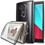 LG G4 Case, Ringke [Fusion] Crystal Clear PC Back TPU Bumper w/ Screen Protector [Drop Protection/Shock Absorption Technology][Attached Dust Cap] For LG G4 - Smoke Black