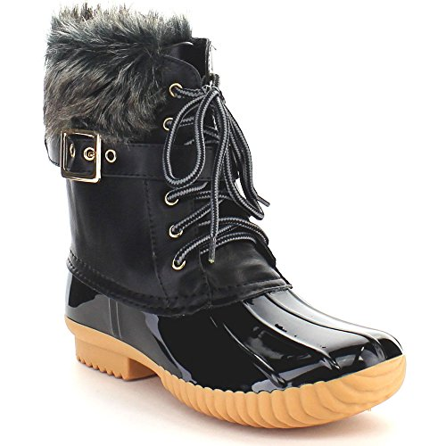 Women's Ankle Duck Warm Boots Two Tone Lace Up Side Buckled Waterproof Rubber Insulated Snow Rain Boots (7M US, Black)