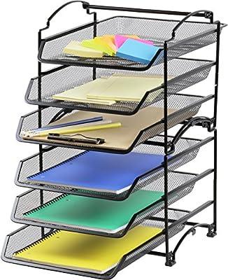 SimpleHouseware 3 Tier STACKABLE Desktop Document Letter Tray Organizer, Black