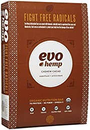 Evo Hemp Raw Organic Nutrition Bar - Cashew Cacao - 1.69 oz - 12 Pack